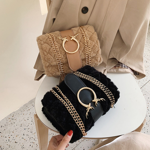 Image 5 - MONNET CAUTHY Winter New Bags for Women Chic Fashion Ladies Flannel Crossbody Bag Solid Color Pink White Khaki Black Chain Flap