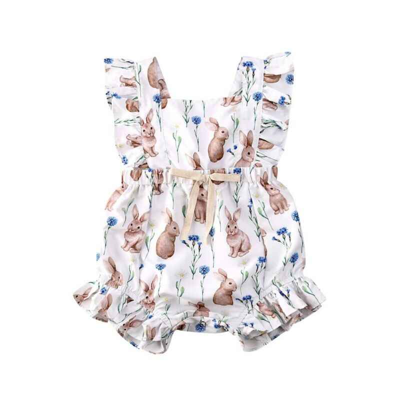 Newborn Infant Baby Girl Boys Rompers Ruffles Short Sleeve Rabbit Printed Romper Jumpsuits Playsuit Sunsuit