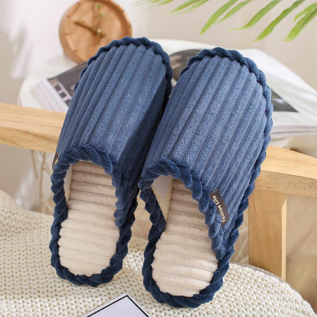 ฤดูหนาวผู้ชายบ้านรองเท้าแตะในร่มรองเท้าแตะ Soft Plush Warm Casual House รองเท้าแตะรองเท้าแตะชาย Anti Skid Furry ห้องนอนรองเท้าแตะรองเท้า
