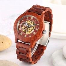 Reloj de hombre de madera completo marrón/rojo reloj de pulsera de madera de cuerda automática de lujo con números romanos