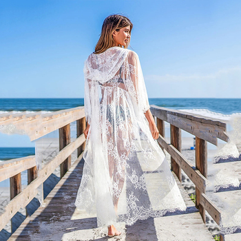 Women Summer Hooded Cover Up Elegant Fashion Cardigan Long Lace Mesh Hollow Out Simple Loose Embroidered Bikini Smock Swimwear