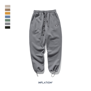 Image 5 - INFLATION DESIGN Super Loose Fit Men Sweatpants In Pure Color Loose Fit Retro Style Mens Sweatpants Street Wear Men Pants 93402W