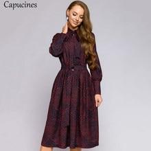 Capucines outono elegante floral impressão laço cinto vestido feminino mangas compridas a linha do vintage midi vestido de festa femme vestidos 2020