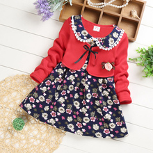 Autumn Casual Baby Girls Dress Flower Pattern o neck Long Sleeve Knee-Length Fake 2 Piece Dress Kids party dress #25