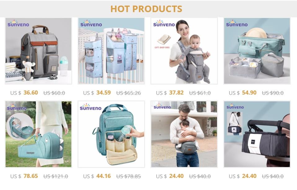 H3e27d6a0e42346de9aa2e4865b08af54f Sunveno Multifunctional Baby Diaper Organizer Reusable Waterproof Fashion Prints Wet/Dry Bag Mummy Storage Bag Travel Nappy Bag
