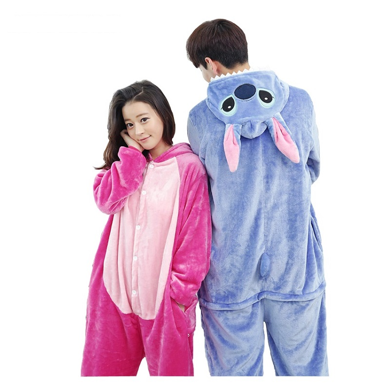AFEENYRK Flannel Pyjama Homewear Adults Sleepwear Panda Totoro Pikachu Hoodie Unicorn Cosplay Animal Kigurumi Men Women Pajamas