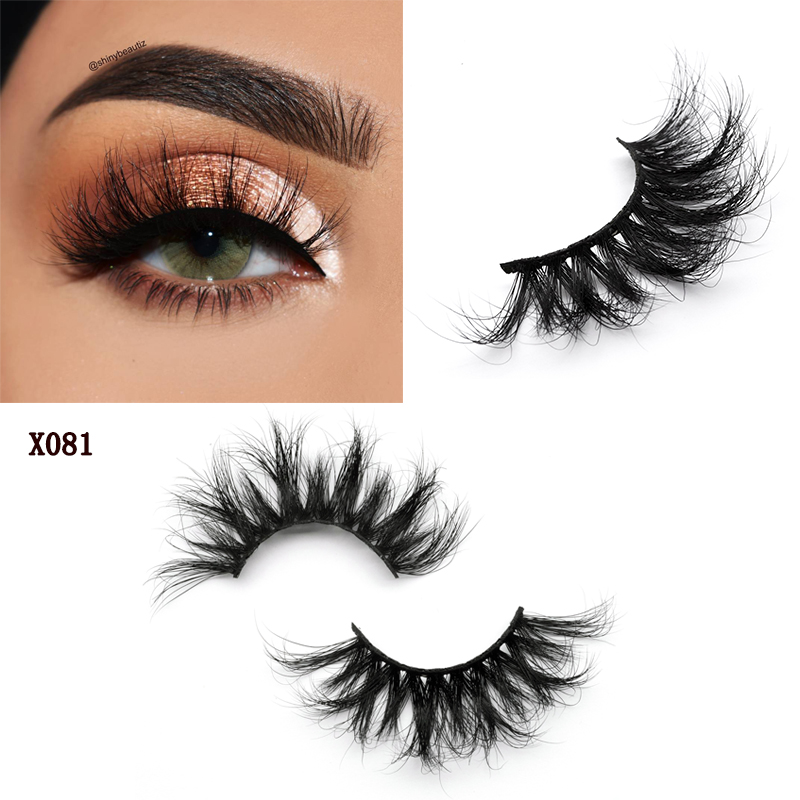 Huisghair 25mm False Eyelashes Wholesale Thick Strip 25mm 3D Mink Lashes Custom Packaging Label Makeup Dramatic Long Mink Lashes