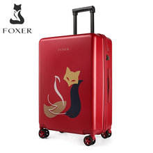 Foxer Merk Kofferbak Originele Patroon Design Bagagebox Trolley Vrouwen Koffer Universele Wiel Rolling Pc Shell 20 24 Inch(China)