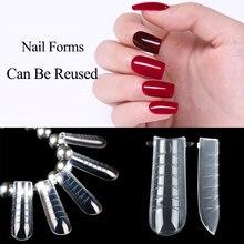 120Pcs Dual Form Building Mold Nail Tips Nails Reusable Tool Full Cover Nail Extension Forms Nail Shape Build