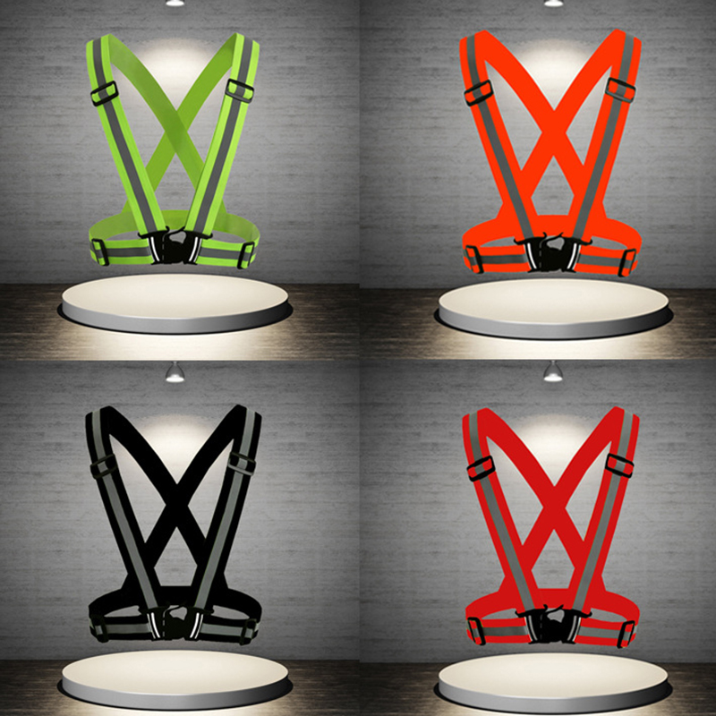 Reflective Vest High Visibility Unisex Outdoor Running Cycling Safety Vest Adjustable Elastic Strap Fluorescence Work Wholesale 2