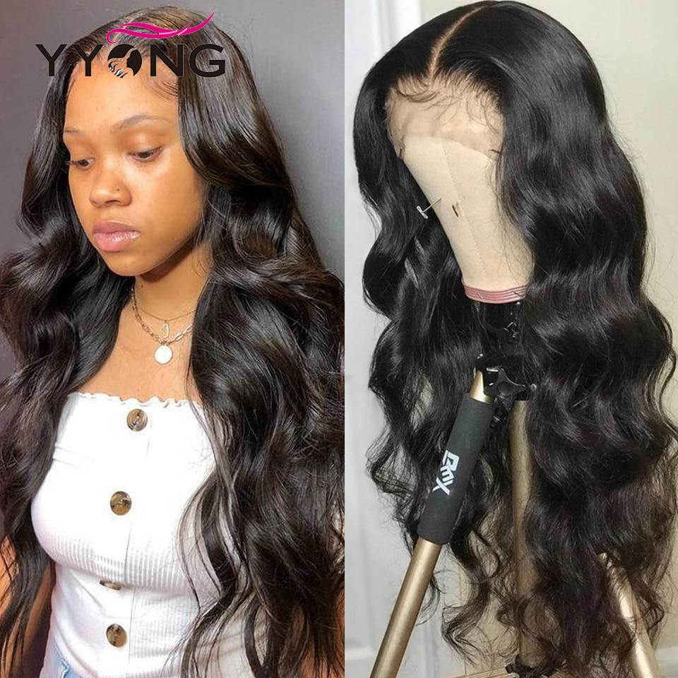 YYONG-pelucas de cabello humano con encaje frontal para mujeres negras, 30, 32 pulgadas, 13x4, Remy, malayo, ondulado, 4x4, prearrancado, 130%