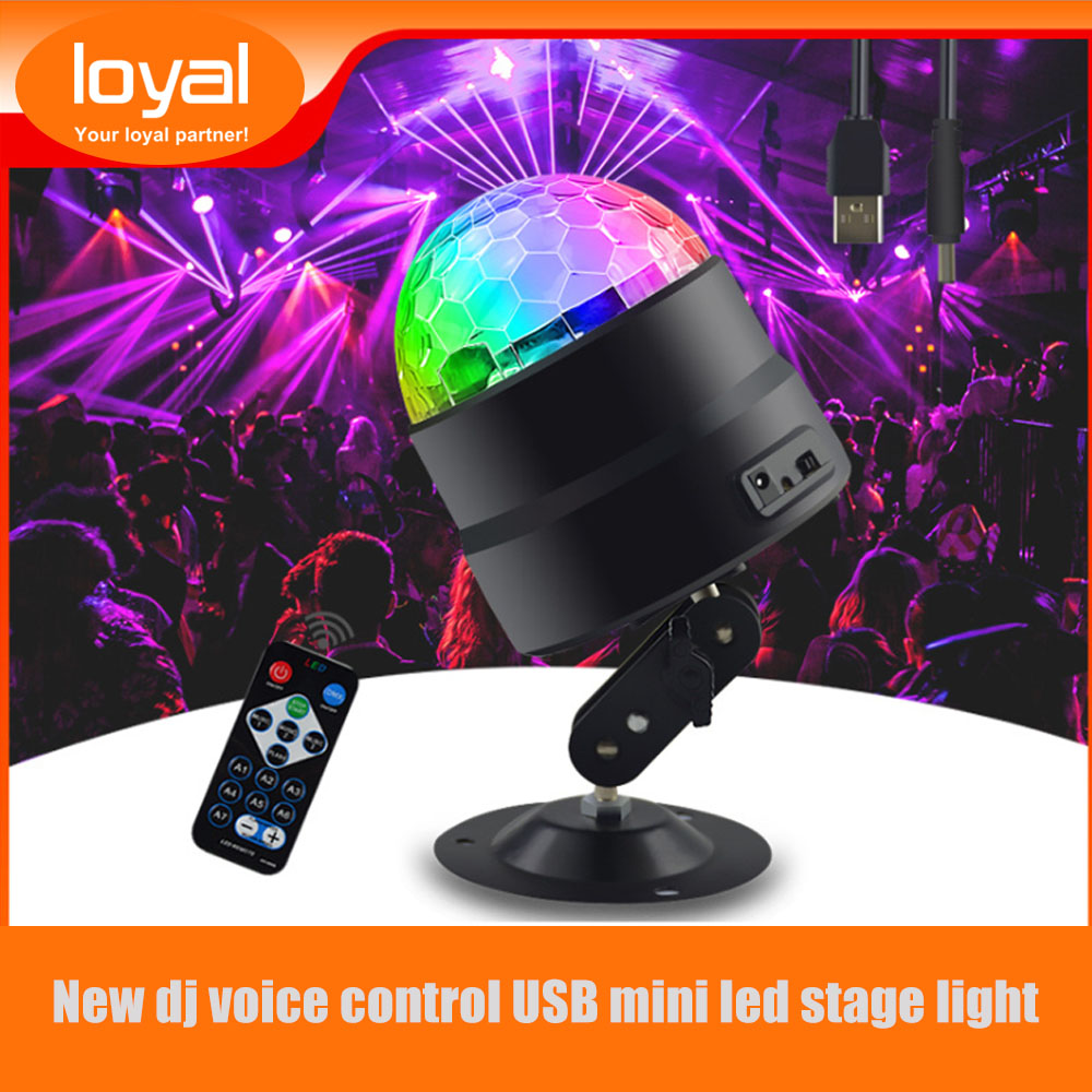 Mini Party Light USB LED Bar Stage Lighting RGB Disco Ball Light Sound Activated DJ Projector Party Lights For Star Projector