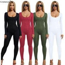 Jumpsuits สำหรับผู้หญิง 2019 SEXY สีดำยาวเสื้อ \\ \\ \\ \\ \\ \\ \\ \\ \\ \\ \\ \\ \\ \\ \\ \\ \\ สีขาวสีเขียว Rompers WOMENS Jumpsuit ยาวกางเกงสี