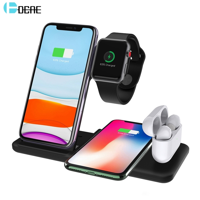 DCAE 4 in 1 Wireless Charging Stand for Apple Watch 5 4 3 2 Airpods Pro 15W Qi Fast Charger Dock Station For iPhone 11 X XS XR 8