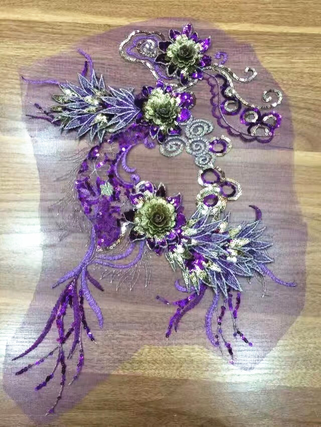 Fan-shaped Flower High Quality 3 Flowers Sequin Multilayer Stereo Handmade Garment Accessory Embroidery DIY Formal Dress Wedding