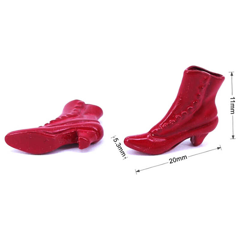 1 Pair 1:12 Dollhouse Miniature Accessories Mini Red Boots Princess Shoes DeNWUS