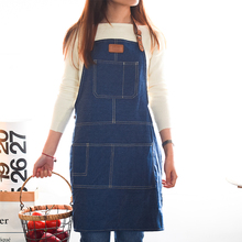 Japanese style canvas Denim Apron for Chef Kitchen Cooking BBQ For Woman man Adjustable Pocket Works smock