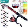 Fishing Rod and Reel Full Kits with Telescopic Fishing Rod and Reel Baits Hooks Saltwater Freshwater Travel Pole Set 1