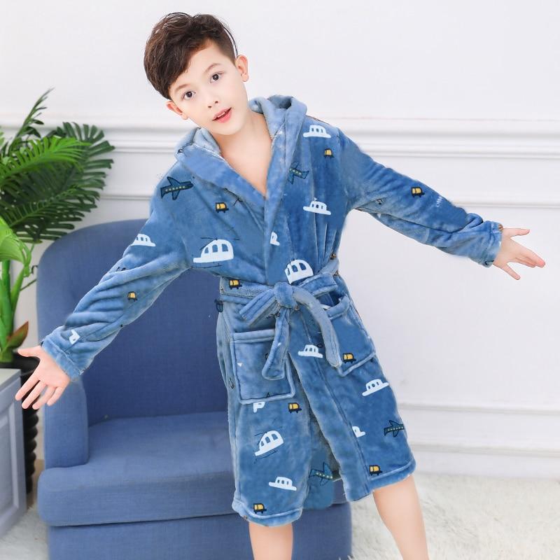 Kids Bathrobe for Boys Spring Winter Lively Animal Print Pajamas Warm Children Pyjama Teenager Boys Bath Robe Swimming Clothing 1