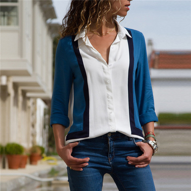 Ladies Fashion Patchwork Color Chiffon Blouse High Quality Casual Long Sleeve Tops Elegant Turn Down Collar Buttons Shirts S-3XL 4