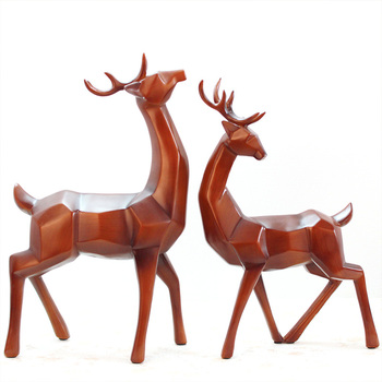 Antique Couple Elk Sculpture Mascot Figurine Geometric Deer Statue Art Ornament Home Decoration Living Room Wedding Gift