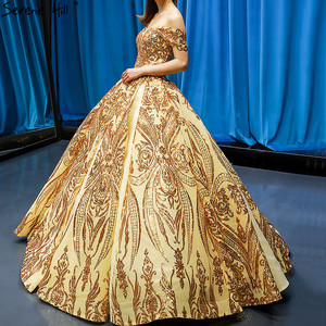 Image 3 - Robe de mariée dorée, robe de mariée luxueuse, sans manches, à épaules dénudées, avec paillettes, haut de gamme, HM66709, modèle 2020
