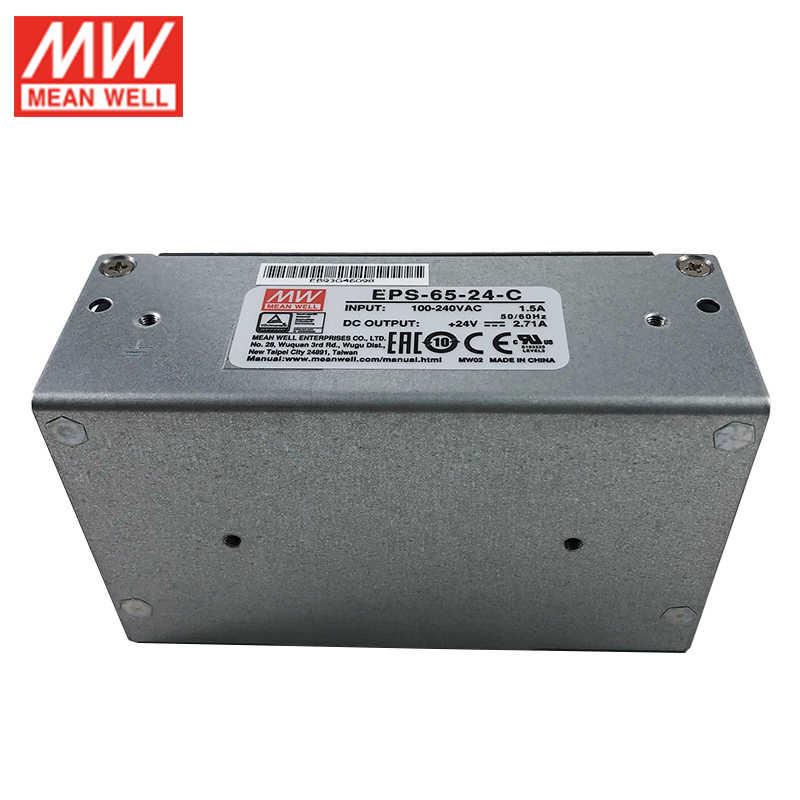 MEAN WELL EPS-65-24-C 65W 24V zasilacz impulsowy 110 V/220VAC do 24V DC 2.71A zasilacz typu zamkniętego z pokrywą