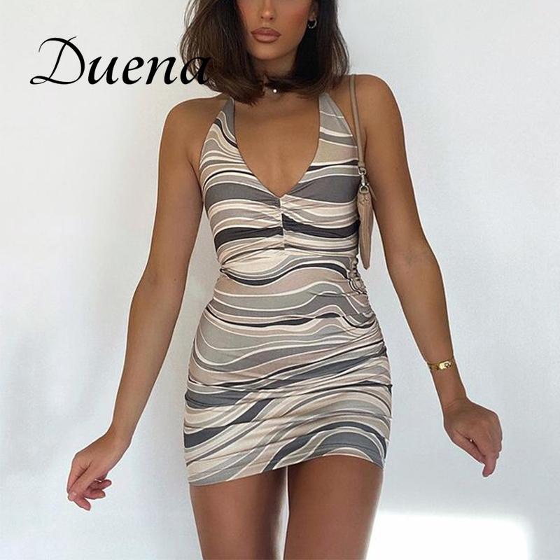 Duena Tie Dye Mini Bodycon Dress Club Wear Summer Ladies Clothes Women Print Backless Off Shoulder Brown Sheath Dress 2021