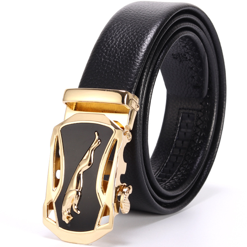Men PU Leather Belt Leopard Automatic Buckle Business Gentle Belt Lychee Pattern Gold Silver Male Jeans High Quality Waist Belt