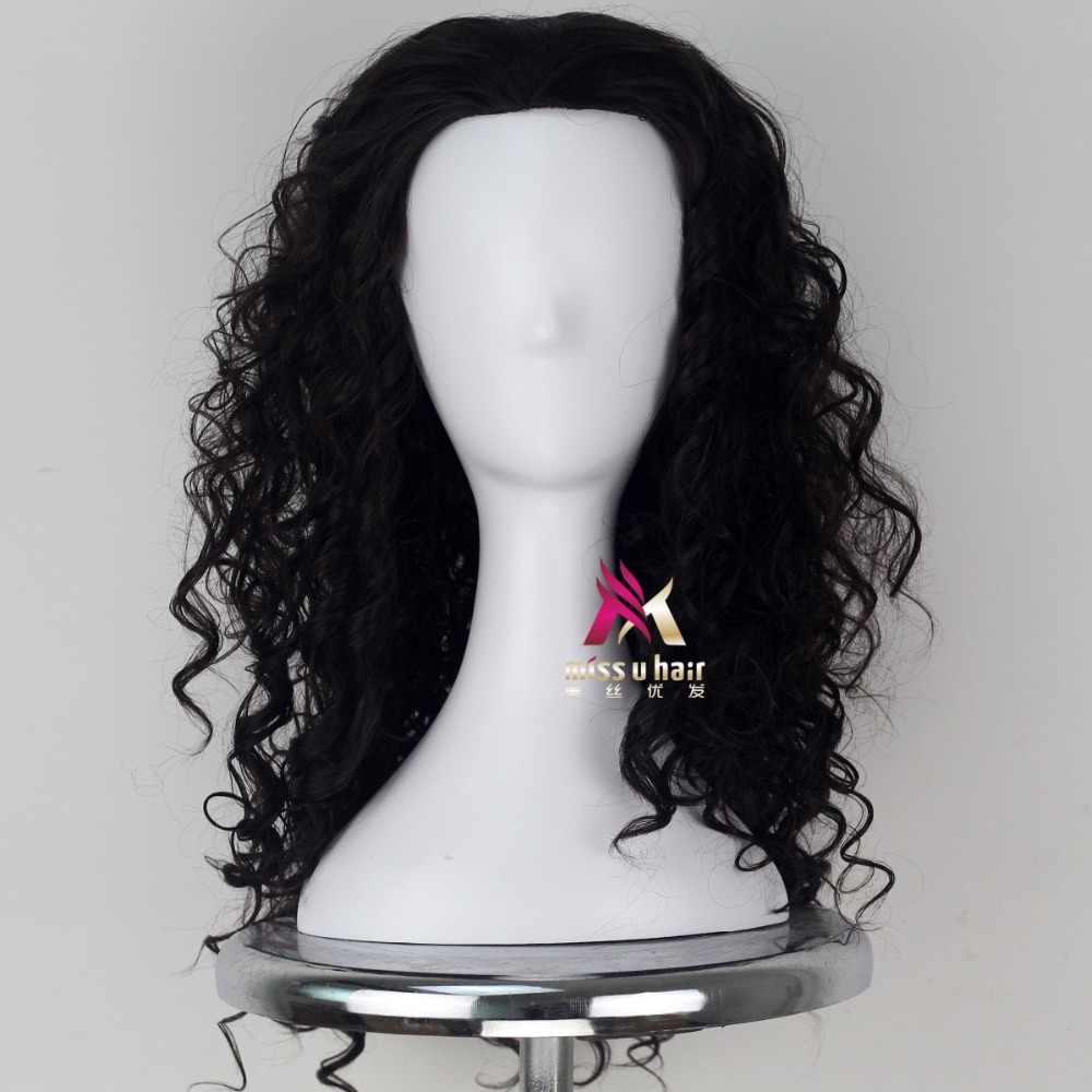 Film Moana Prince men Maui peruka czarne puszyste długie włosy Cosplay peruka z lokami z siatka do włosów Maui kostiumy + czapka z peruką