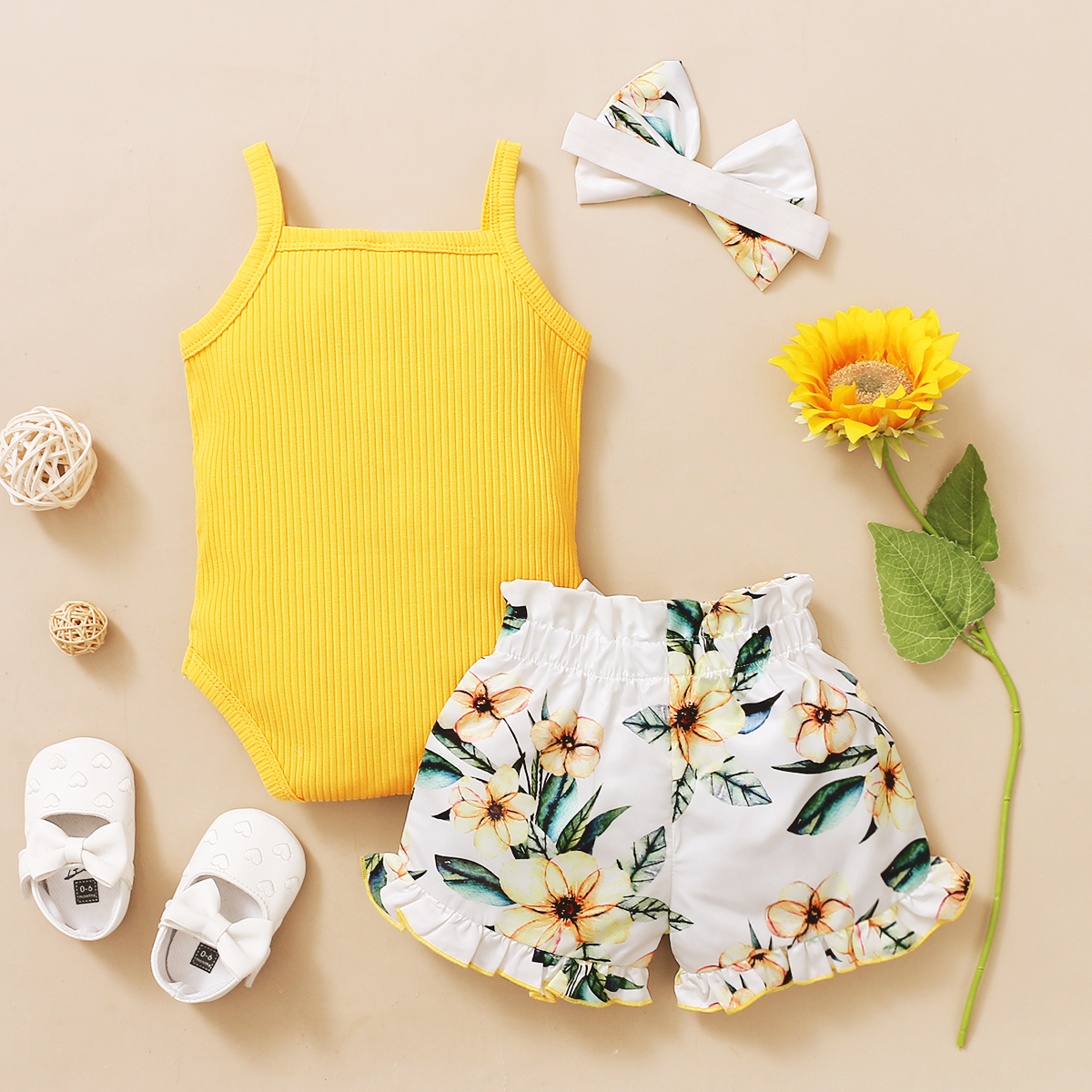 3Pcs Newborn Baby Girls Summer Clothes Cute Beach Boho Strap Ruffle Romper Floral Shorts Toddler Outfit Baby Girls Clothing 3