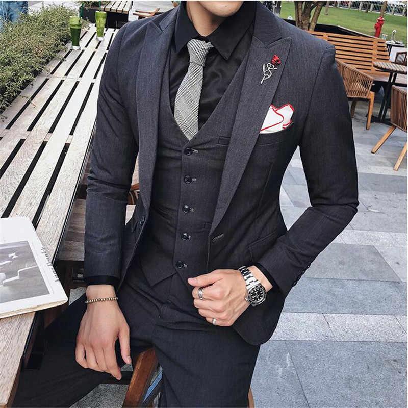 (سترة + بانت + سترة) الرجال الفاخرة بدلة الزفاف الذكور بليزر سليم صالح الدعاوى للرجال زي الأعمال الرسمي حفلة الوردي الكلاسيكية الأسود
