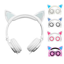 Child Cute Cat Ear Shape LED Music Lights Headphones Foldable Cat Ear Headset 3.5 Jack Earphone For Huawei Samsung Iphone xiaomi(China)