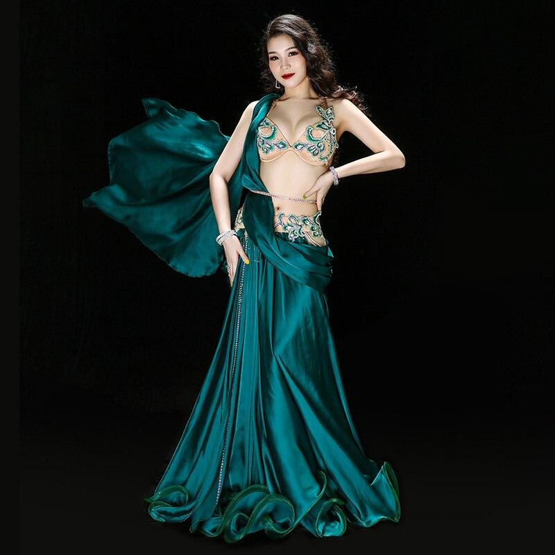 Luxury Belly Dance Costume Set Women Bra Belt Maxi Dancing Skirts Professional Outfit 4pcs Team