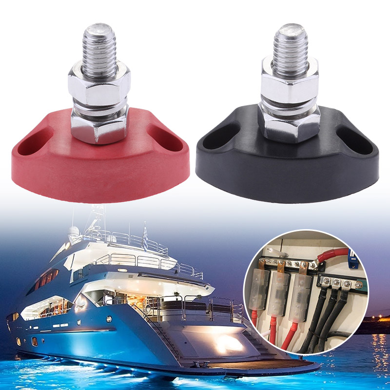 Red Black Junction Block Power Post Insulated Terminal Stud 6mm Boat Electrical Parts For Electrical Cables For Marine Yachts