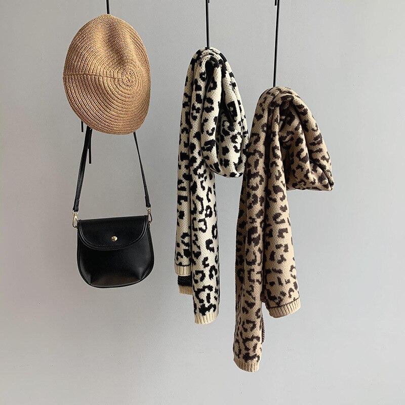 Bufanda cálida para mujer, bufanda cálida para invierno, bufanda de punto de leopardo, ancho y largo para mujer, Pashmina suave de Color marrón 2020