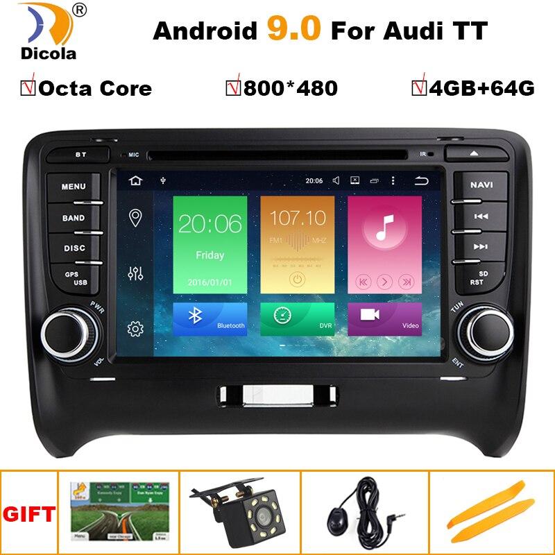 4G + 64G IPS HD Android 9 Octa core PX5 HD 1024*600 écran tactile 2 DIN voiture DVD GPS Radio stéréo pour AUDI TT wifi GPS USB SWC AUDIO