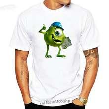 Men T Shirt Mike Wazowski shirt and black helmet monsters company tshirts cotton tshirt men summer fashion t-shirt euro size