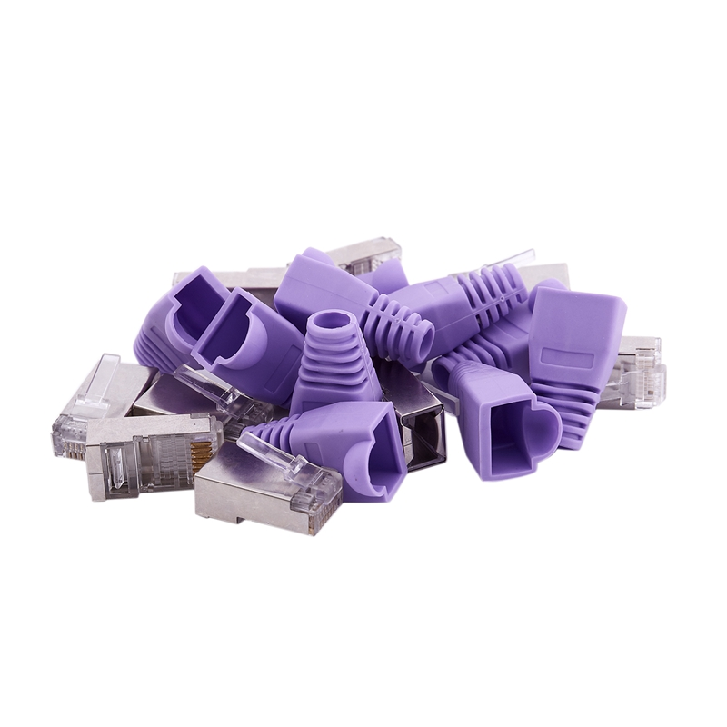 10 Pcs Metal Shielded 8P8C RJ45 Plug End Network Connectors W Boots Cover