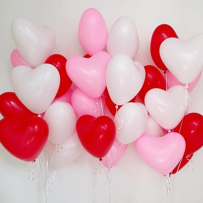 30 шт., 10 дюймов латексные воздушные шары «сердце» ко Дню Святого Валентина одежда для свадьбы, дня рождения украшения комплекты детской рожд...