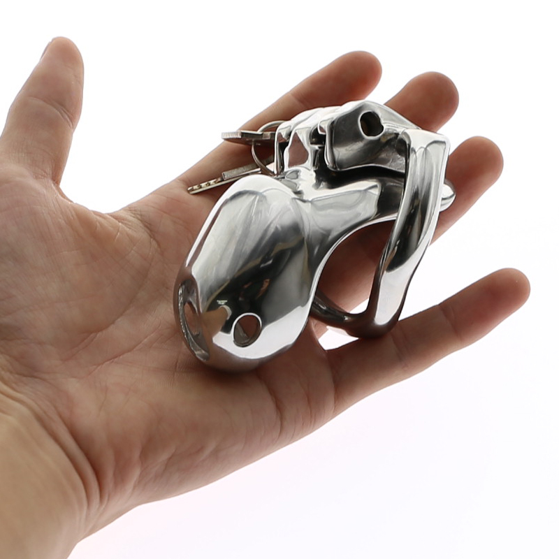HT V3 Stainless Steel Cock Cage Penis Lock Penis Ring Chastity Device Belt Tool Restraint Sex Toys 4 Sizes Choose