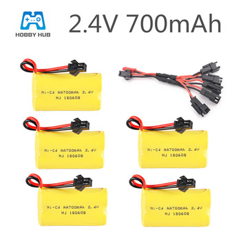 Hobby Hub 2.4V 700mah AA nicd Rechargeable Battery with 5in1 cable for RC Car boat truck Electric toy 2.4 v 700 mah AA battery image
