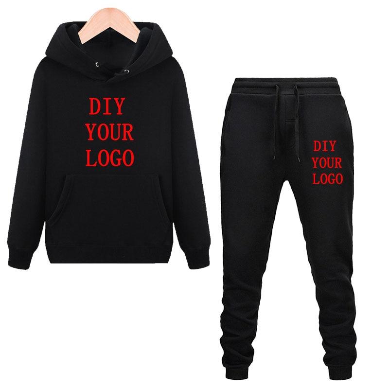 Men Tracksuit Sweatshirt Pants Set Autumn Winter Jogger Man Sportswear Suit Customized Your Logo Men Brand Clothes