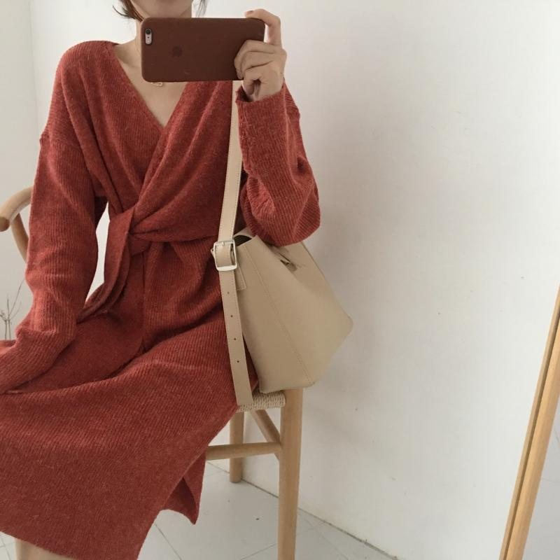 H3e297c5939624e1ba8f1e15a656688ba1 - Winter Korean V-Neck Long Sleeves Knitted Dress