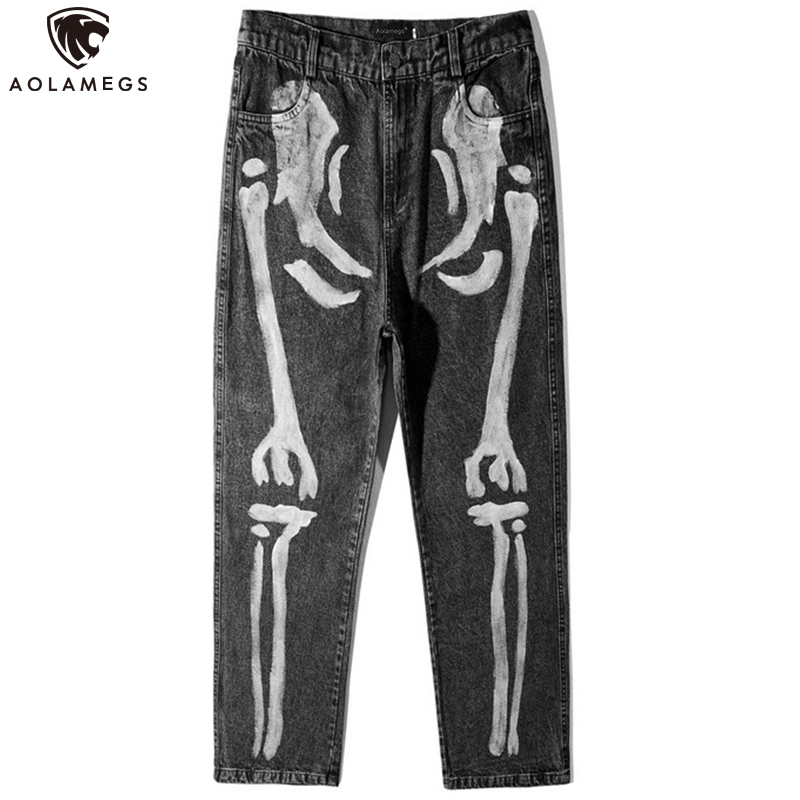 Aolamegs Jeans Men Hip Hop Style Denim Pants Mens Retro Skinny Jeans Casual Trousers High Street All-match Jeans Streetwear