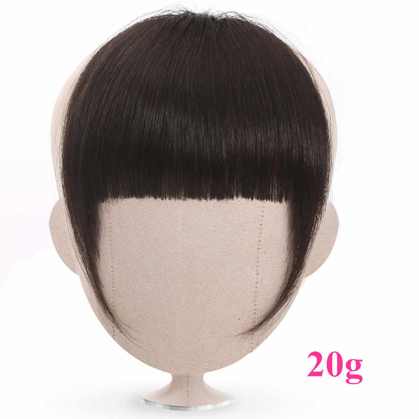 Halo Lady Beauty Human Hair Blunt Bangs Clip In Peruvian Human Hair Extension Non-Remy Clip-In Fringe Hair Neat Bangs 613 Blonde