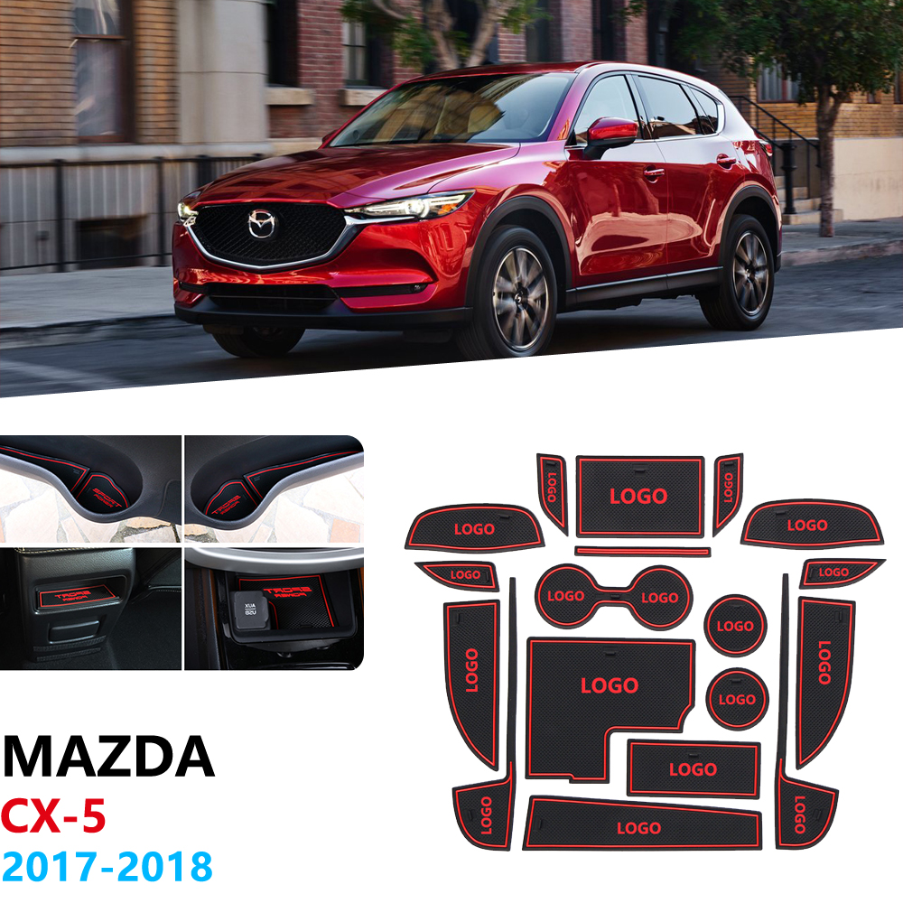 Anti-Slip Rubber Gate Slot Cup Mat For <font><b>Mazda</b></font> CX-5 <font><b>2017</b></font> 2018 2019 MK2 KF <font><b>CX5</b></font> CX 5 Coaster Cup pad <font><b>Accessories</b></font> Car Stickers image