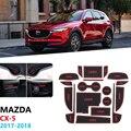 Antypoślizgowe gumowe maty do schowków mata na kubki do Mazda CX-5 2017 2018 2019 MK2 KF CX5 CX 5 Coaster podstawka pod kubek akcesoria samochodowe naklejki