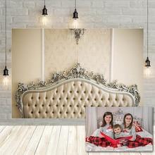 Avezano Photography Backdrops Bed Headboard Luxury Diamond Christmas Family Portait Party Background Photo Studio Decorations