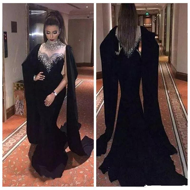 2019 Beaded Bling Bling Slim Black Evening Dress Sexy Cape Style Latest Mermaid Prom Dresses Robe De Soiree Arabic Party Gown